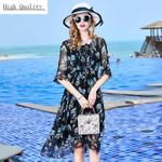 Beach Natural Silk Elegant Black Floral Plus Size Dresses