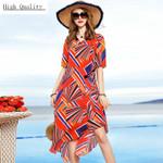 Real Silk Beach Plus Size Elegant Floral Print Ladies Dresses