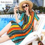 Real Silk Beach Casual Boho Long Dresses Elegant Print