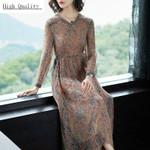 Long Real Silk Elegant Floral Beach Dresses