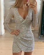 V-neck Slim Sequin Wrap Ruched Long Sleeve Bodycon Dress