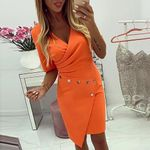 Short Sleeve Buttoned V-Neck Ruched Surplice Wrap Mini Dress