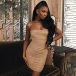 glitter solid color simple elegant wrinkle wrap dress