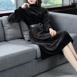 Black Velvet Ladies Turtleneck Long-Sleeve Dress