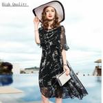 Real Silk Beach Midi Floral Print Black Party Dresses