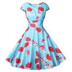 Polka Dot Elegant Robe Vintage Ladies Floral Dresses