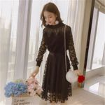 Fashion Long Early Female Clothes Lace Knitted Black Dress