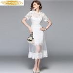 Lace Maxi Gauze Two Piece Set White Sexy Dresses