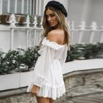 Long Sleeve Off Shoulder Mini Ruffle White Dresses