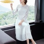 White Elegant Pleated Fashion Lace Party Dresses