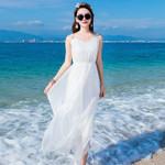 Boho White Real Silk Clothes V Neck Sleeveless Maxi Dress