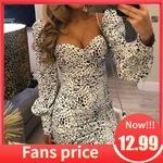 Leopard animal print bodycon white dress