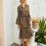 Sexy Long Sleeve Midi Dress Leopard Print V-Neck A-Line Dress