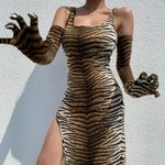 O Neck Tiger Print Night Club Elegant Evening Party Dress