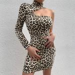 New Arrivals Sexy Single Sleeve Leopard Elegant Evening Party Dress