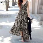 Vintage Leopard Printed Sexy V Neck Sleeveless Maxi Dresses