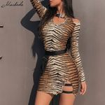 Sexy Leopard Print hollow out slim fit package hip dress