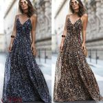 Leopard Print Sleeveless Maxi Long Dress