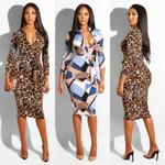 Sexy Zip Up V Neck Long Sleeve Bodycon Midi Dress