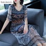 Real Silk Long Print Slim Vintage Beach Floral Dresses