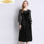 Retro Velvet Plus Size Elegant Party Long Sleeve Dresses