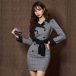 New Vintage Gray Plaid Long Sleeve V-neck Dress