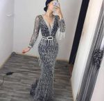 Party Elegant Tassel Dress Long Sleeve Maxi Dress