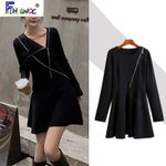 Little Black Hot Sales Fashion Long Sleeve Sexy Party Dress