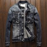 Locomotive Denim Jacket Male Designer Slim Fit