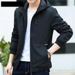 Bomber Black Hooded Casual Slim Jackets And Coats