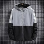 Bomber Hooded Jacket Casual Slim Patchwork Windbreaker