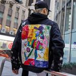 Streetwear Graffiti Appliques Printed Black Jeans Jacket