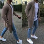 Solid Color Cardigan Sweater Thick Loose Fashion Coat