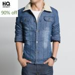 Fleece Jacket Streetwear Classic Male Casual Wear Denim Coat