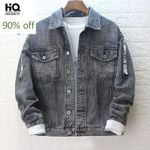 Lapel Slim Denim Jackets Hole Vintage Hip Hop