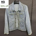 Personality Punk Denim Coat Rivets Washed Single