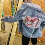 back patch bf hip hop street hole washed tassel denim