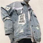 fashion ripped hole denim jacket