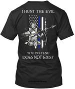 funny t shirts Thin Blue Line Tshirts Hunters Of Evil