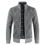 Cardigan Stand Collar Zipper Knitted Casual Sweater