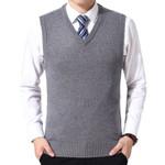 Solid Sweater Vest Wool Pullover Brand V-Neck
