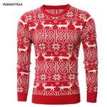Deer Printed Long Sleeve Thicken Warm O-Neck Sweaters
