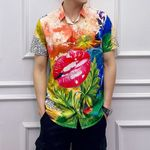 Flower Printing Tide Male Loose Short Sleeve Casual Shirt