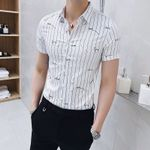 New Short Sleeve Social Striped Shirts Slim Fit