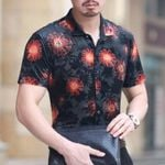 Flower Transparent Short Sleeve Camisa Black Velvet Shirt