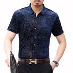 Velvet Camicia Uomo Transparent Flower Short Sleeve Shirt