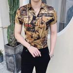 Luxury Gold Black Shirt Short Sleeve Fashion Designer