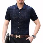 Fashion Streetwear Short Sleeve Camisa Hombre Velvet Shirt
