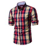 Cotton Plaid Casual Social Business Male Dress Shirts