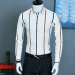Contrast Striped Long Sleeve Dress Shirts
